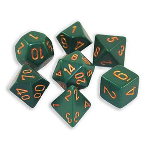 Chessex Opaque Polyhedral Dusty Green/Copper