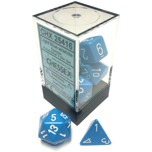 Chessex Opaque Polyhedral Light Blue/White 7 Die Set