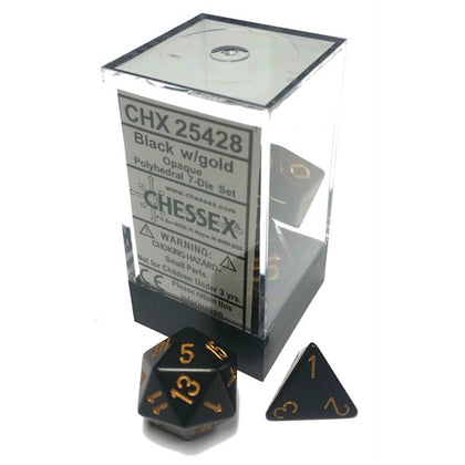 Chessex Black/Gold 7 Die Set