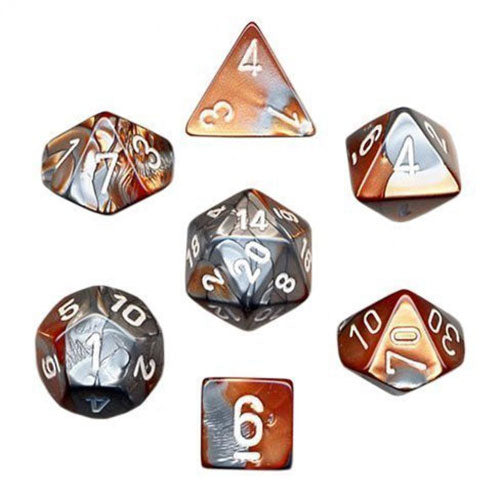 Chessex Gemini Copper Steel/White 7 Die Set
