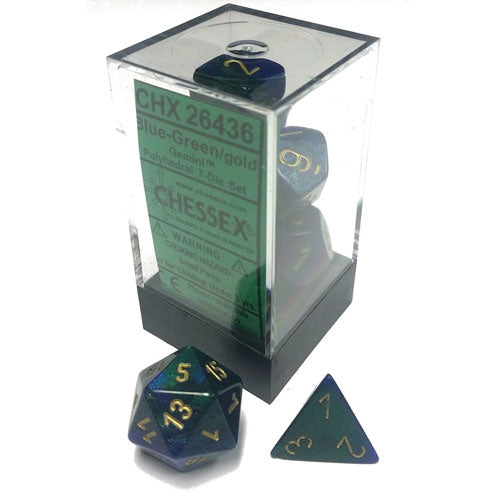 Chessex Gemini Blue Green/Gold 7 Die Set
