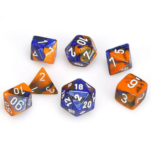 Chessex Gemini Blue Orange/White 7 Die Set