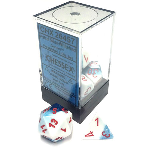Chessex Gemini Polyhedral White/Red 7 Die Set