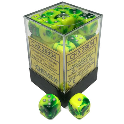 Chessex 36 Green Yellow Silver Gemini 12mm D6 Die Set