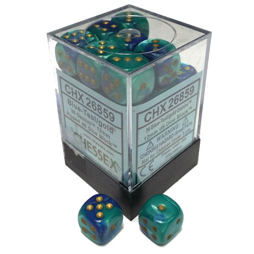 Chessex D6 Gemini Blue Teal/Gold 12mm Die Set