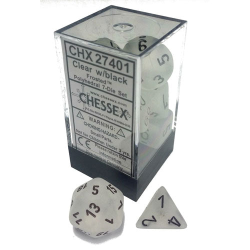 Chessex Frosted Clear/Black 7 Die Set