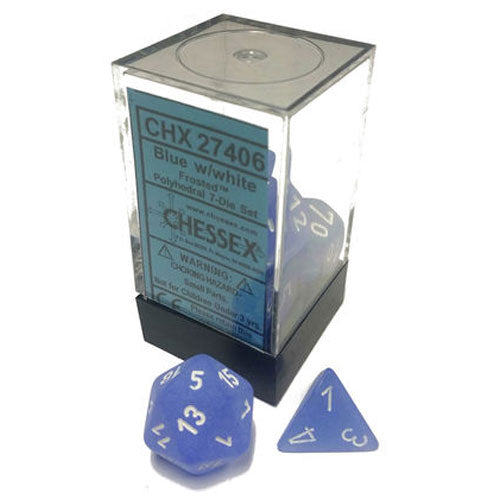 Chessex Frosted Blue/White 7 Die Set