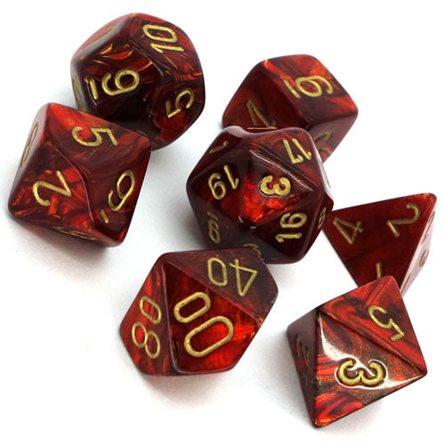 Chessex Scarab Scarlet/Gold 7 Die Set