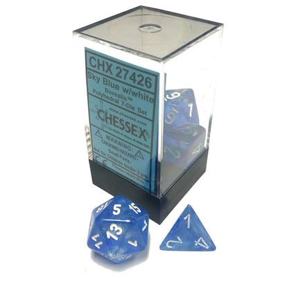 Chessex Borealis Polyhedral Sky Blue/White 7 Die Set