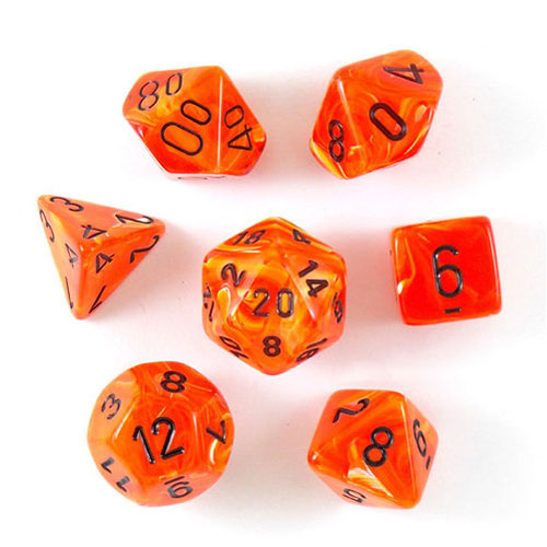 Chessex Vortex Orange/Black 7 Die Set