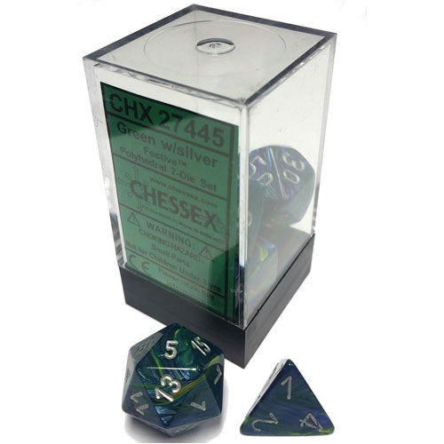 Chessex Green/Silver 7 Die Set