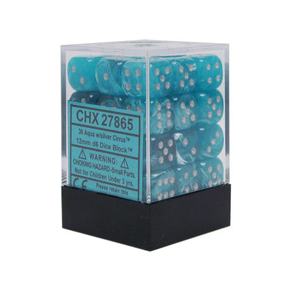 Chessex Cirrus 12mm Aqua/Silver 36 Die Set