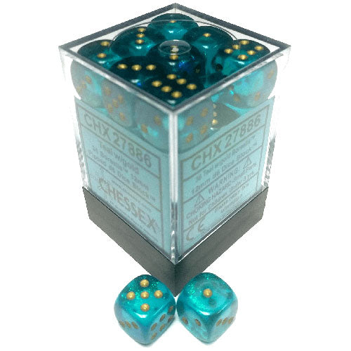 Chessex Teal/Gold D6 12mm Die Set
