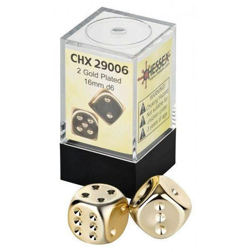 Chessex Gold Metallic D6 16mm Pair