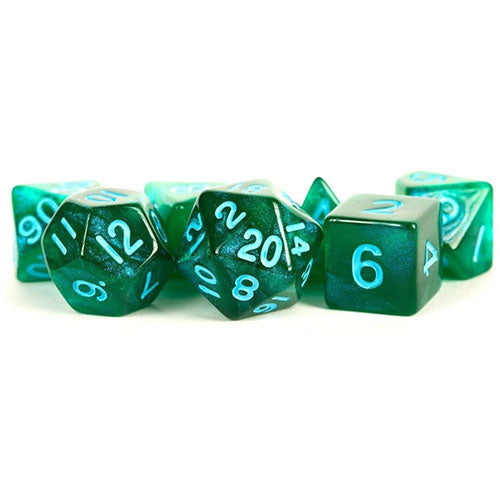 MDG Polyhedral Acrylic Dice Set 16mm with Blue Numbers Stardust Green