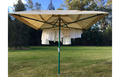 clothesline with waterproof cover installed
