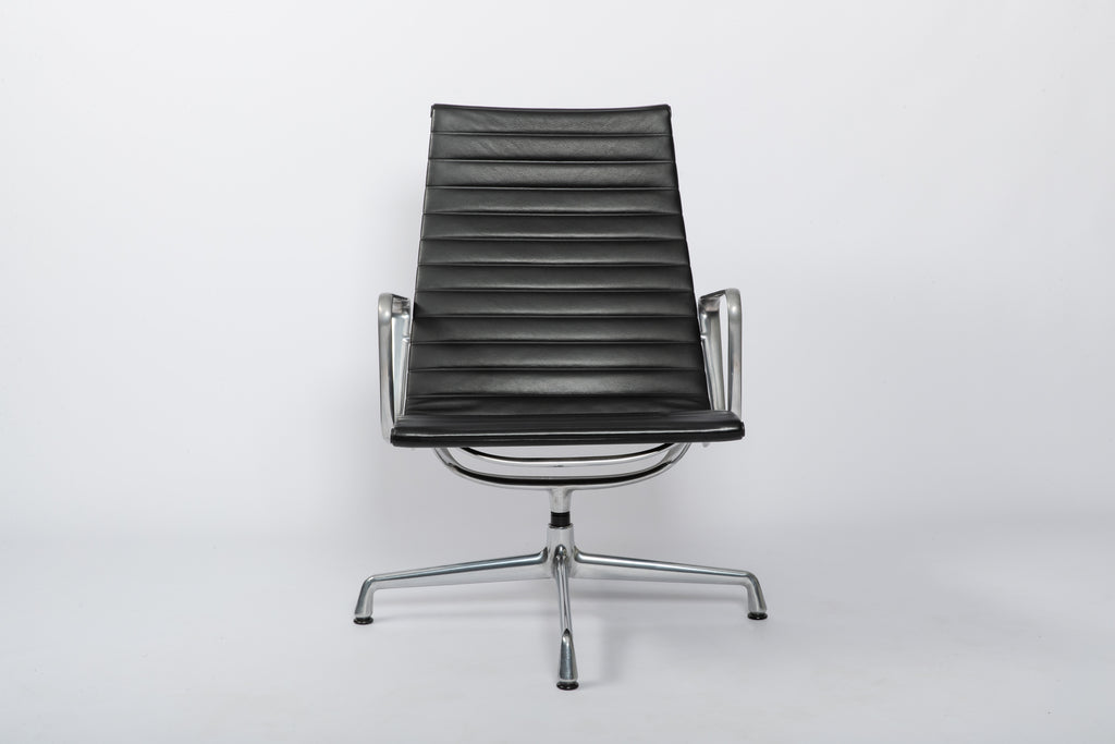 Eames Aluminium Group Lounge Chair black leather face on image.