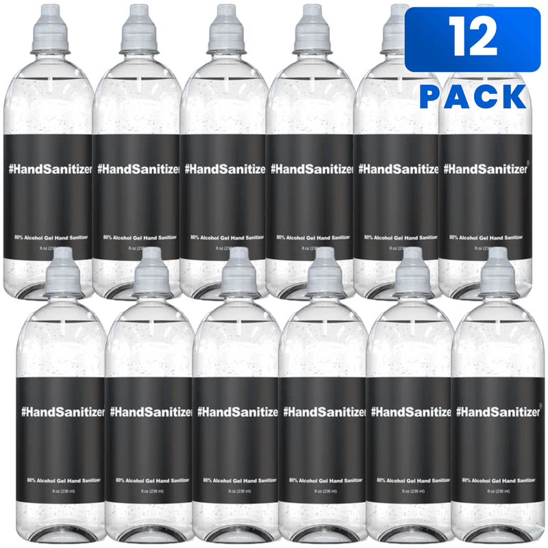 Hand Sanitizer 8oz Flip Cap Travel Size Bottle 80% Alcohol at Office or Home  - 12 pack
