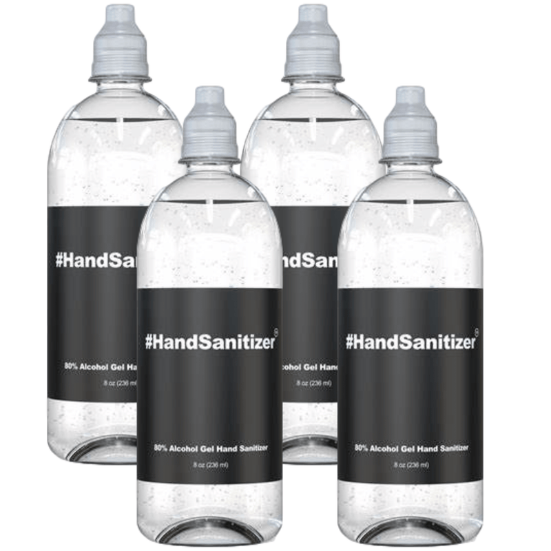 Hand Sanitizer 8oz Flip Cap Travel Size Bottle 80% Alcohol at Office or Home  - 4 pack