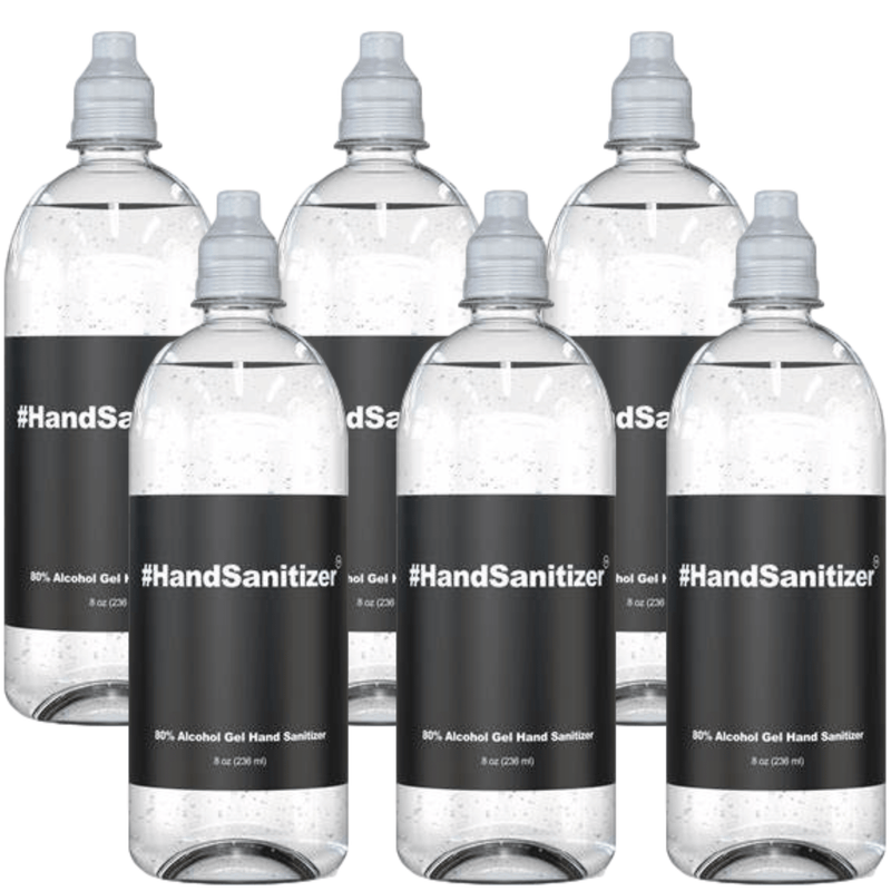 Hand Sanitizer 8oz Flip Cap Travel Size Bottle 80% Alcohol at Office or Home  - 6 pack