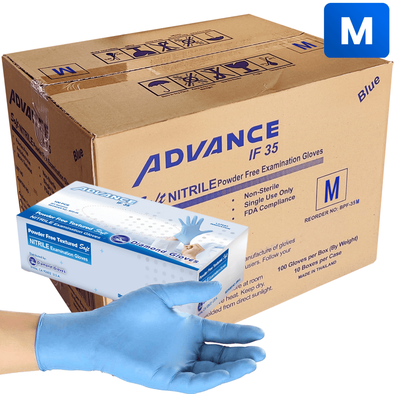 Nitrile Gloves Nitrile Exam Gloves, Case-Pack Size Medium (1,000 pack) In stock