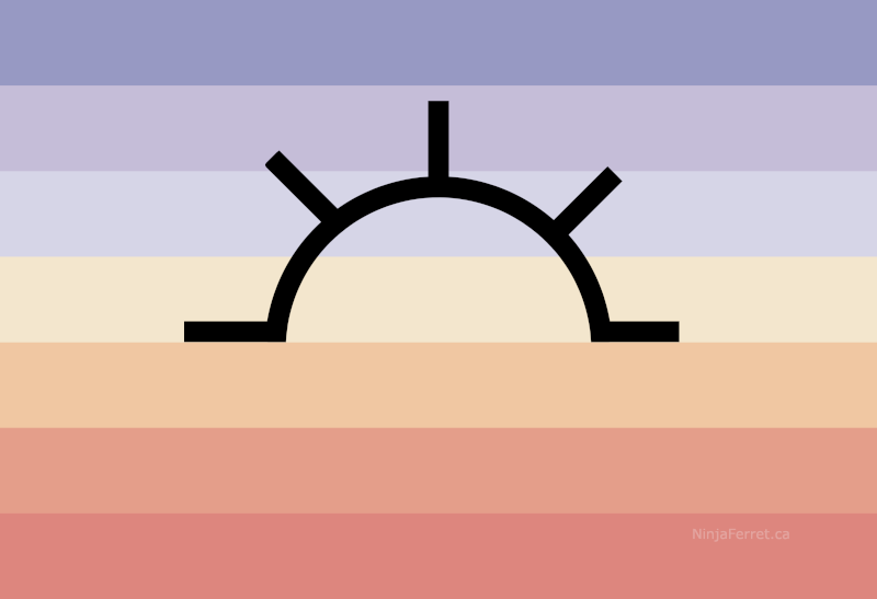 Original Dawnian Pride Flag. 7 Stripes, graduating from lavender to choral, with the black outline of a half sun with rays in the centre