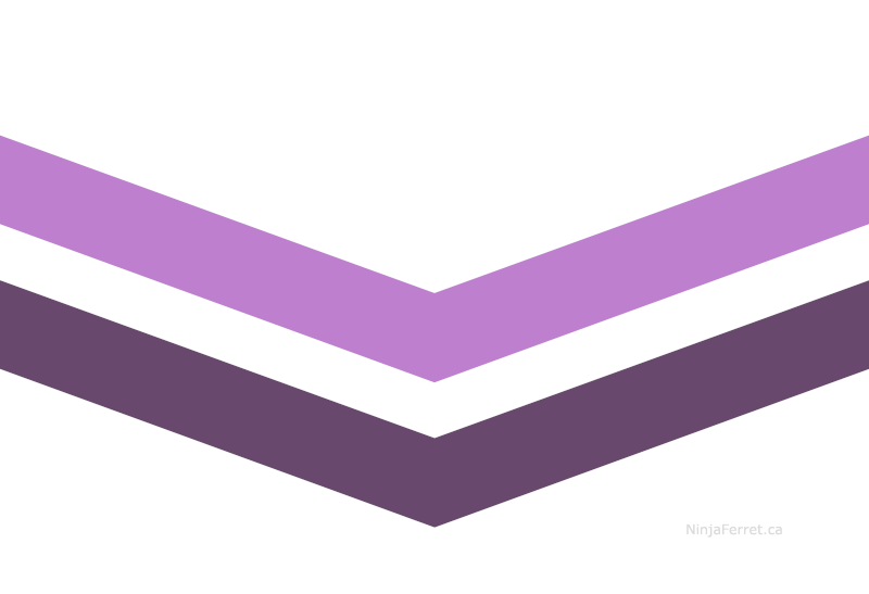 Queer pride flag with two chevrons, light purple above darker purple, on white field/background.