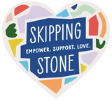 Colourful mosaic heart with the words: Skipping Stone: Empower. Support. Love.