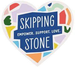 """Logo for Skipping Stone Foundation. Mulitcoloured heart with the words """"Skipping Stone"""" and """"Empower. Support. Love"""""""