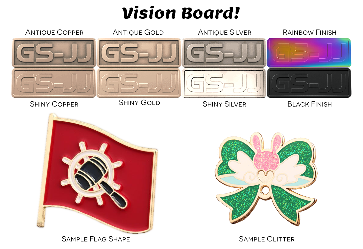 Lapel Pin Vision Board - Metal Samples, Shapes, and Glitter
