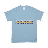 SHE/HER -  Rainbow | Gildan Fine Jersey Crew Neck T-Shirt -- Casual Fit - Ninja Ferret
