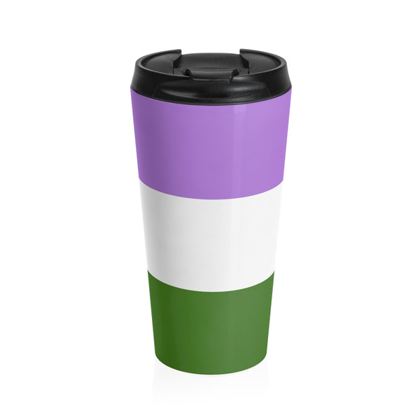 Genderqueer Pride Flag Stainless Steel Travel Mug - Ninja Ferret