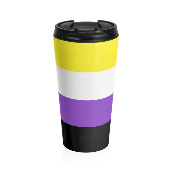 Nonbinary Pride Flag Stainless Steel Travel Mug - Ninja Ferret