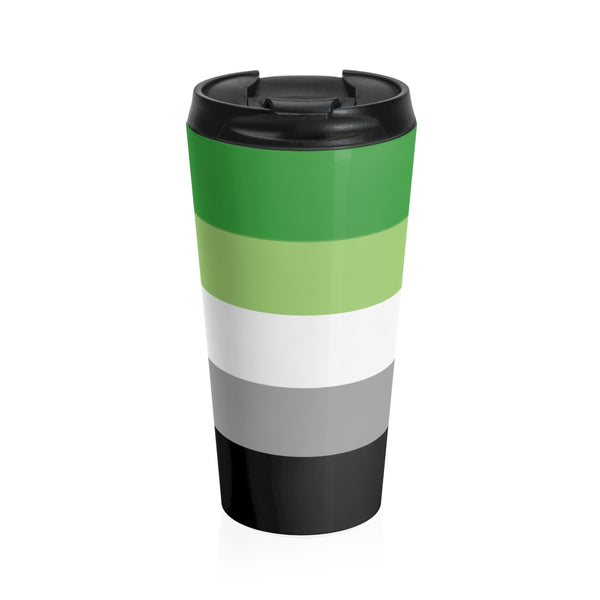 Aromantic Pride Flag Stainless Steel Travel Mug - Ninja Ferret