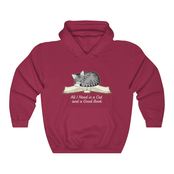 All I Need is a Cat and a Good Book Unisex Heavy Blend™ Hooded Sweatshirt - Ninja Ferret