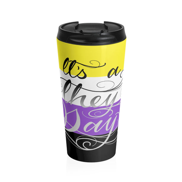 They Day - Nonbinary Pride Flag Stainless Steel Travel Mug - Ninja Ferret