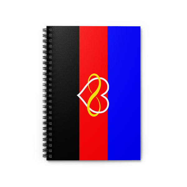 Polyamory Pride Flag Spiral Notebook - Ruled Line (Infinity Heart Version) - Ninja Ferret