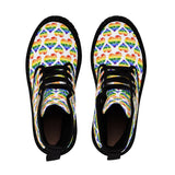 Heart of Hearts Men's Canvas Boots - Rainbow/White - Ninja Ferret