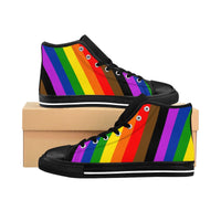 Pride Rainbow Striped Women's High-top Sneakers - Ninja Ferret