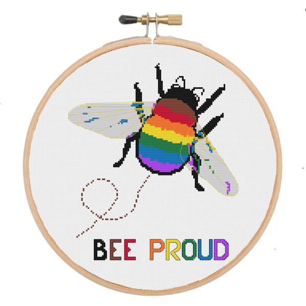Be Proud | Rainbow Bumblebee Cross Stitch Pattern - Ninja Ferret