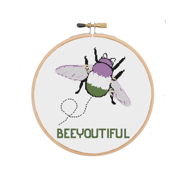 Beeyoutiful | Genderqueer Bumblebee Cross Stitch Pattern - Ninja Ferret