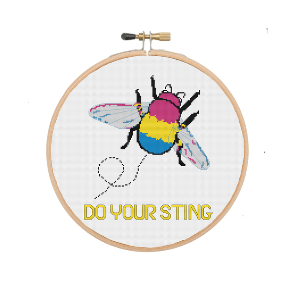 Do Your Sting | Pansexual Bumblebee Cross Stitch Pattern - Ninja Ferret