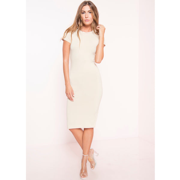 Cap Sleeve Soft Knit Midi Dress