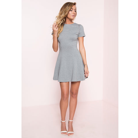 On the Go Fit and Flare Mini Dress- Gray
