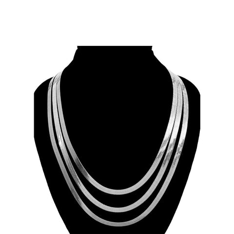 Triple Decker Herringbone Necklace