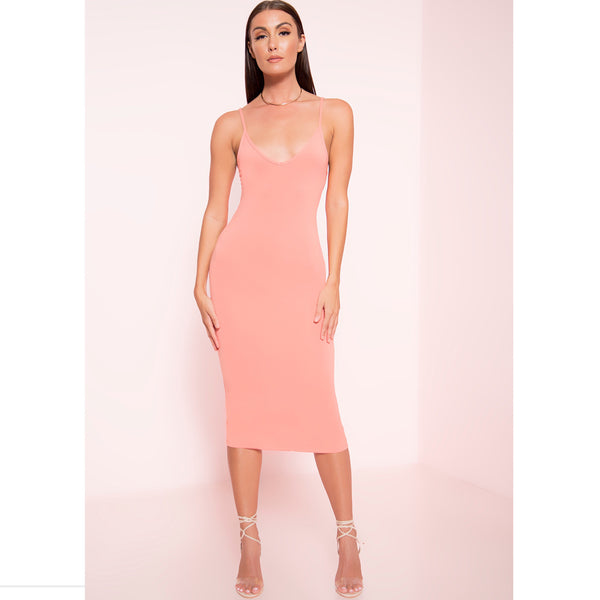 Long Line Thin Strap Midi Dress (More Colors)