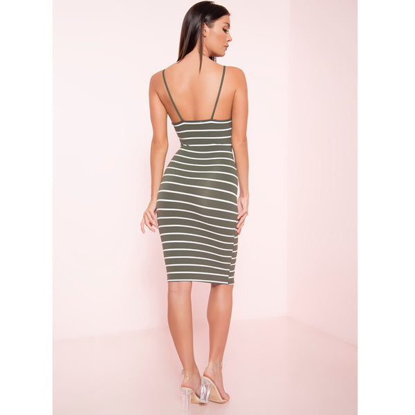 Striped Thin Strap Midi Dress