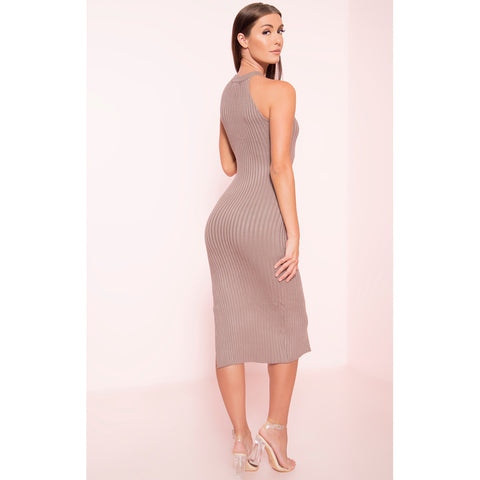 Ribbed Side Split Dress