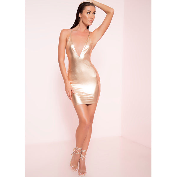 Shine On Metallic Tank Dress