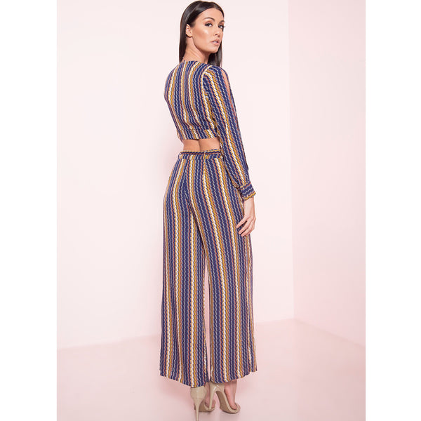 Striped Wide Leg Pants Set